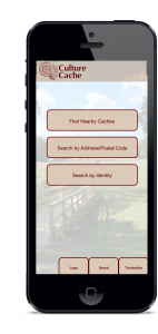 The home page offers the ability to search for cache adventures, as well as tracking your own caches and pottery.